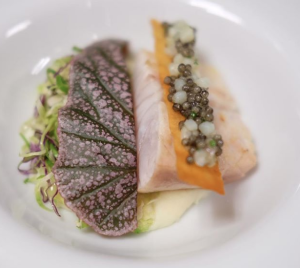 Hawaiian kampachi, sweet potato, Meyer lemon, brussel sprout and bester caviar